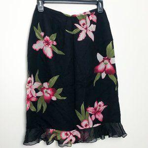 Carlisle Vintage Midi 100% Silk Floral Skirt